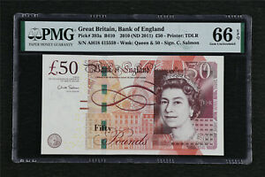 2010 Great Britain Bank of England 50 Pounds Pick#393a PMG 66 EPQ Gem UNC