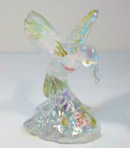 FENTON Art Glass CLEAR IRIDESCENT Decorated HUMMINGBIRD Signed Painted Flowers