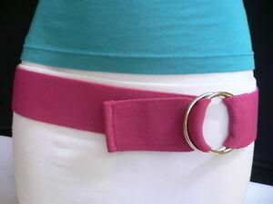 WOMEN HIGH WAIST HIP STRETCH PINK CASUAL ELASTIC FABRIC FASHION BELT SIZE XS S M