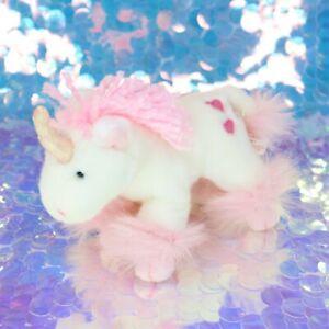 "White Unicorn STARLIT 5"" Plush Stuffed Animal Pink Red Hearts Russ Berrie BE777"