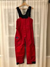 West Marine Nautical Gear 100% Rain Boat Bib Pants Trousers Overalls Red Size XS