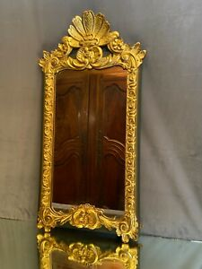 Mirror Wooden Carved Golden IN Double Patina Green And Gold Style Regency