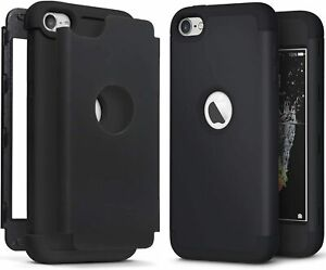 For iPod Touch 5th 6th & 7th Gen - Black Hard Hybrid Nonslip Armor Impact Case