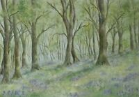 Forest bluebells painting  watercolour woodland trees woods landscape floral