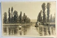 Xochimilco Mexico RPPC Postcard Vintage Real Picture Photo Card Kayak Boat Wayer