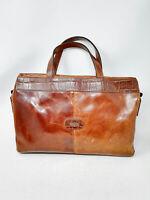VINTAGE Handbag Carrying Case Valigetta Marrone In Pelle Leather Uomo Man