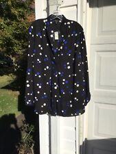 NWT Talbots Black Cream Blue Dot Tunic/blouse 1X 14W 16W