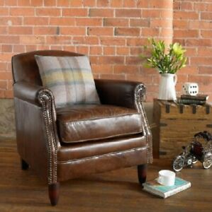 Ancient Mariner Vintage Brown Leather Chair - Small Leather Studded Armchair