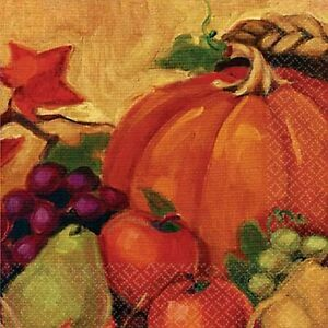 Harvest Still Life Fall Autumn Thanksgiving Holiday Party Luncheon Napkins