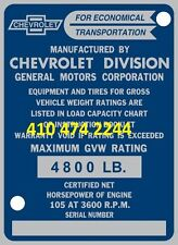 STAMPED CHEVROLET TRUCK DATA PLATE SERIAL NUMBER ID TAG VIN