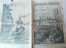1924 DOMENICA DEL CORRIERE: VISITA DEL RE A FIUME; NUOVO TANK ANFIBIO 'WYOMING'