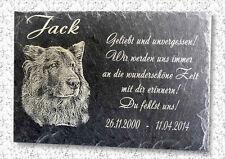 Foto & Text - Schiefer Grabstein Grabplatte Gedenkplatte Hund Tiergrab 22x16cm *