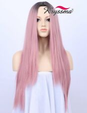 Kryssma Wig Party Dark Rooted Ombre Classic Pink Straight Wig Synthetic 22 Inch