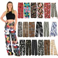 New Womens Plus Size Floral Flared Wide Leg Printed Palazzo Pants Trousers 8-30