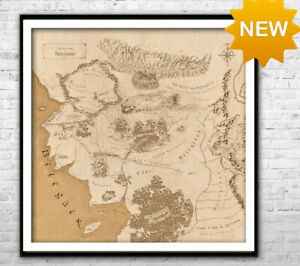 Beleriand map -  Middle Earth Detailed map art Wall Art Home Fantasy Map