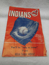 CLEVELAN INDIANS OFFICIAL SOUVENIER SCORE CARD MAY 1955