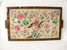 Vintage 1940's  Hand Painted Panel Oak Tea Tray