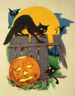 Halloween Cats on Fence, bats, Jack O lantern Vintage art