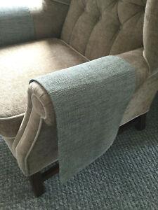 LUXURY Chair Arm Back Cover LAST PAIR Antimacassar Sofa Armchair MINT GREY