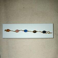 Vintage Gf Gold Filled Egyptian Scarab Bracelet 7 inch Stones & Pearls Estate