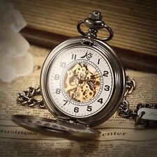 KS Steampunk Half Hunter Skeleton Mechanical Pocket Watch Chain Retro Pendant