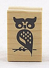 Owl on Branch Wood Mounted Rubber Stamp Inkadinkado NEW wise nature forest art