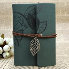 Top Green PU Leather Cover Loose Leaf Blank Travel Notebook Journal Diary Gift