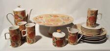 Vintage Avante Garde Collection Tapestry Japan Tea Set Cake Dish 18 Piece China