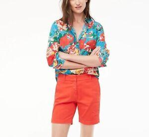 "J.CREW 7"" Stretch Chino Shorts Sz 00 Orange Red Flat Front Pockets Zip Bermuda"