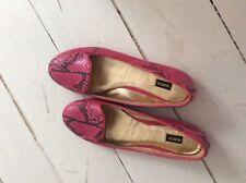 Mimco Lollipop Snakeskin Pink Flat Shoes