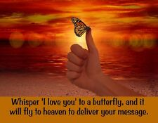METAL FRIDGE MAGNET Whisper I Love You Butterfly Deliver Message Heaven Saying