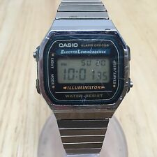 Vintage CASIO A168 Mens Steel Band LCD Digital Chronograph Watch Hour~New Batter
