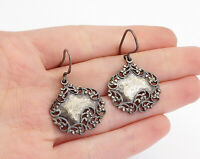 OR PAZ ISRAEL 925 Silver  - Vintage Dark Tone Swirl Trim Dangle Earrings - E9270