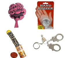 4 TRICKS AND GAGS, SNAKE IN NUT CAN, HAND BUZZER, WHOOPEE CUSHION, THUMB CUFFS