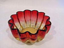 Amberina Vintage Scalloped Body Finger Bowl Candy Mint Dish EUC