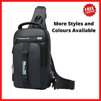 Men's Crossbody Bag Shoulder Chest  Sling Messenger Backpack Anti-Theft Usb Port