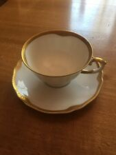 Franconia Krautheim Selb Bavaria White Cup With Saucer Gold Trim