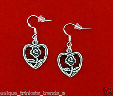 VINTAGE STYLE FLOWER OPEN HEART SILVER DANGLE EARRINGS~VALENTINES DAY GIFT 4 HER