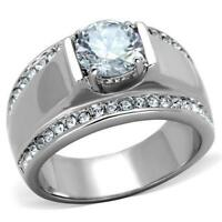 RT1 MENS SIGNET STAINLESS STEEL PINKY SIMULATED DIAMOND RING SOLITAIRE SIZE P 8