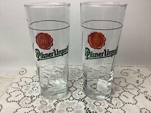 Pilsner Urquell Tall 20 oz Beer Glass Swirl Design SET of 2