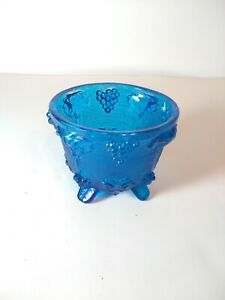 Vintage Jeanette Blue Pressed Glass Grape Pattern Footed Candy Dish (NO LID)
