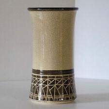 Concave Cylinder Vase with Cream Crackle Glaze & Geometric Band Motif c.1984