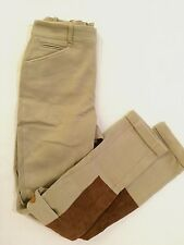 Polo Ralph Lauren Women's Beige Equestrian Riding Pants Suede Patches 4 Pockets