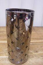 1 Silver Clear Criss Cross X Glass Tumbler Mid Century MOD Vintage Basket Weave