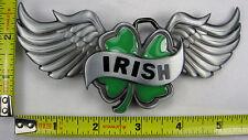 IRISH GREEN CHARM METAL BELT BUCKLE WINGS LUCK OF IRISH LUCKY B54