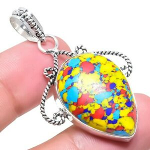"Mosaic Balloon Turquoise Gemstone Handmade Silver Jewelry Pendant 1.9"" RP2614"