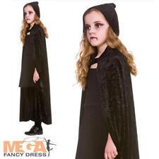 Black Velvet Hooded Cape Kids Fancy Dress Halloween Boys Girls Costume Accessory