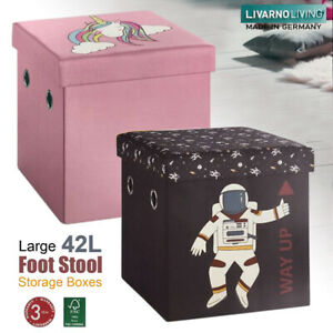 Footstool Storage Box Folding Ottoman Pouffe Seat Kids Unicorn Toy Storage Bench