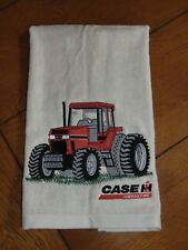 Embroidered Velour Hand Towel - Case IH Tractor W/Grass - Gray/Silver Towel