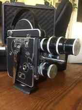 Mint Bolex H16 REX-1 16mm Movie Camera Antique Working Rare + 3 Lenses W/ Case